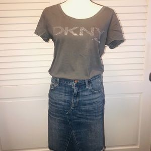 DKNY gray with silver mini studded lettering